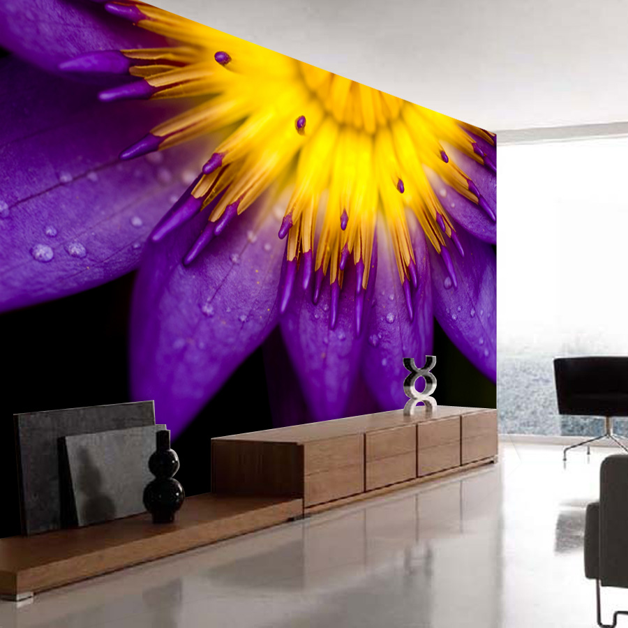 ShineHome-Purple Sunflower Flower Natural Non Woven 3d Wallpaper Wallpapers for 3 d Living Room Walls Murals Roll Wall Paper shinehome maple leaf floral golden wallpaper for 3d rooms walls wallpapers for 3 d living room wall paper murals mural roll