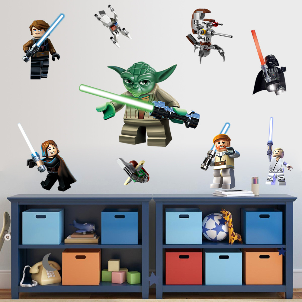 Star wars poster wall stickers lego movie decals art for baby nursery kid room home decoration