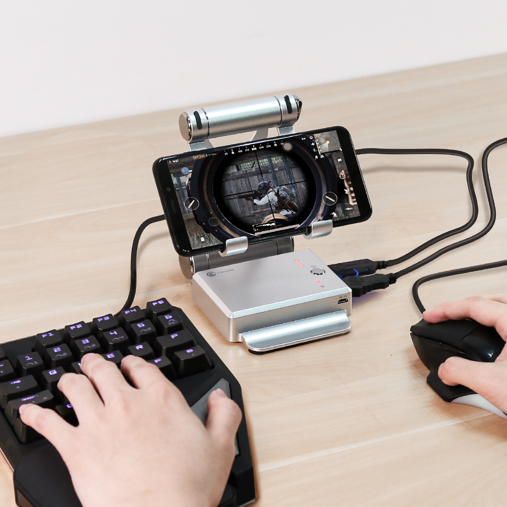 GameSir X1 BattleDock Keyboard and Mouse Converter for Hot PUBG Like, FPS, RoS, Mobile Legend games, Phone Holder, Power bank