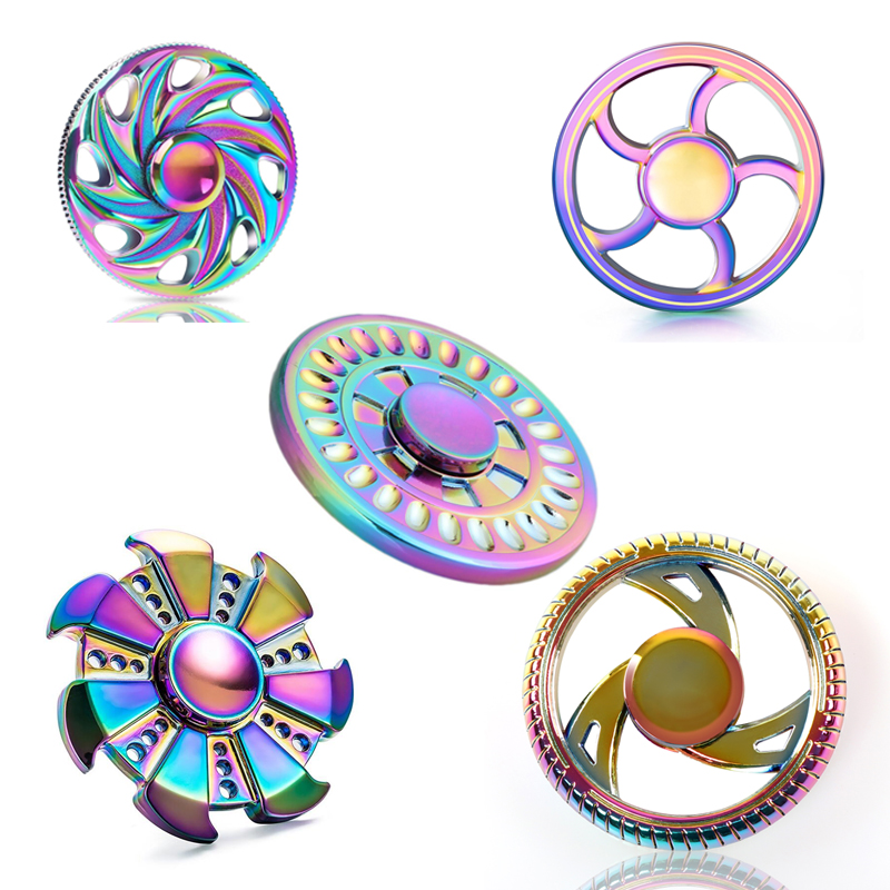 Round Rainbow Fire Wheel EDC Fidget Spinner Metal Hand Spinner for Autism and ADHD Relief Focus Stress Gift Finger Toys  colorful round fire wheel edc fidget spinner metal hand spinner for autism and adhd relief focus anxiety stress gift finger toys
