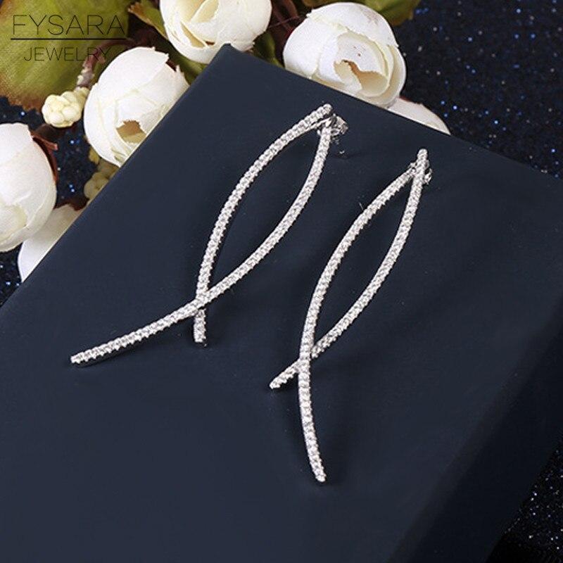 FYSARA Wedding Jewelry Geometric Design CZ Crystals Long Line Drop Earrings Modern Beautiful Earring Ear Stud Jewelry for Women