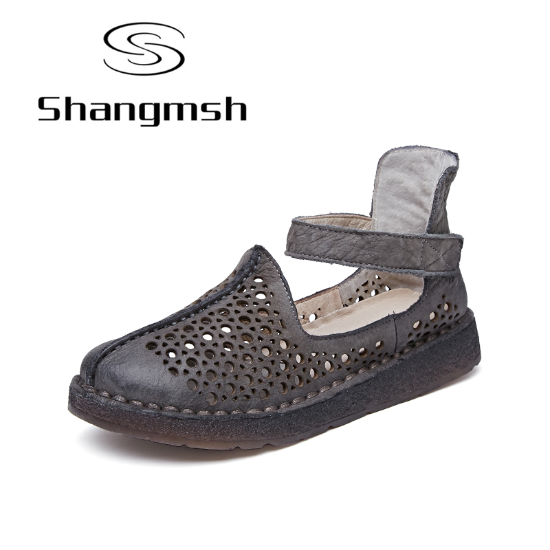 Shangmsh Genuine Leather Shoes Women Summer 2018 Hollow Casual Shoes Handmade Comfortable Soft Bottom Flat Shoes Plus Size gktinoo genuine leather shoes women flats 2018 hollow casual shoes handmade comfortable soft bottom flat shoes moccasins
