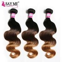 SAY ME Brazilian Body Wave Bundles 3 Tone Ombre Blonde Human Hair Weave Extensions 3 Bundle