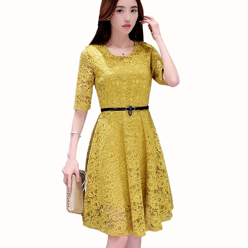 Women Dresses 2019 New Summer Autumn Fashion Casual White Lace Dress O-neck Pink Evening Party Dresses Vestidos Robe Plus Size