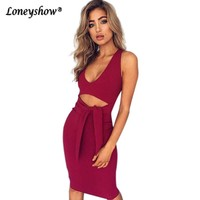 Rose Sleeveless Elastic Summer Party Dresses 2017 Vestidos Sexy Midi Pencil Club Bodycon Bandage Dress