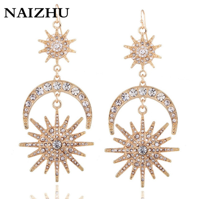 Big luxury Sun Moon Drop Earrings Rhinestone Punk Earrings for women Jewelry Golden boho vintage statement earrings 1