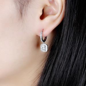 Image 5 - DovEggs 14K 585 or blanc Center 1.1ct 6*6mm F couleur coussin coupe Moissanite diamant boucles doreilles goutte pour les femmes or Halo boucle doreille