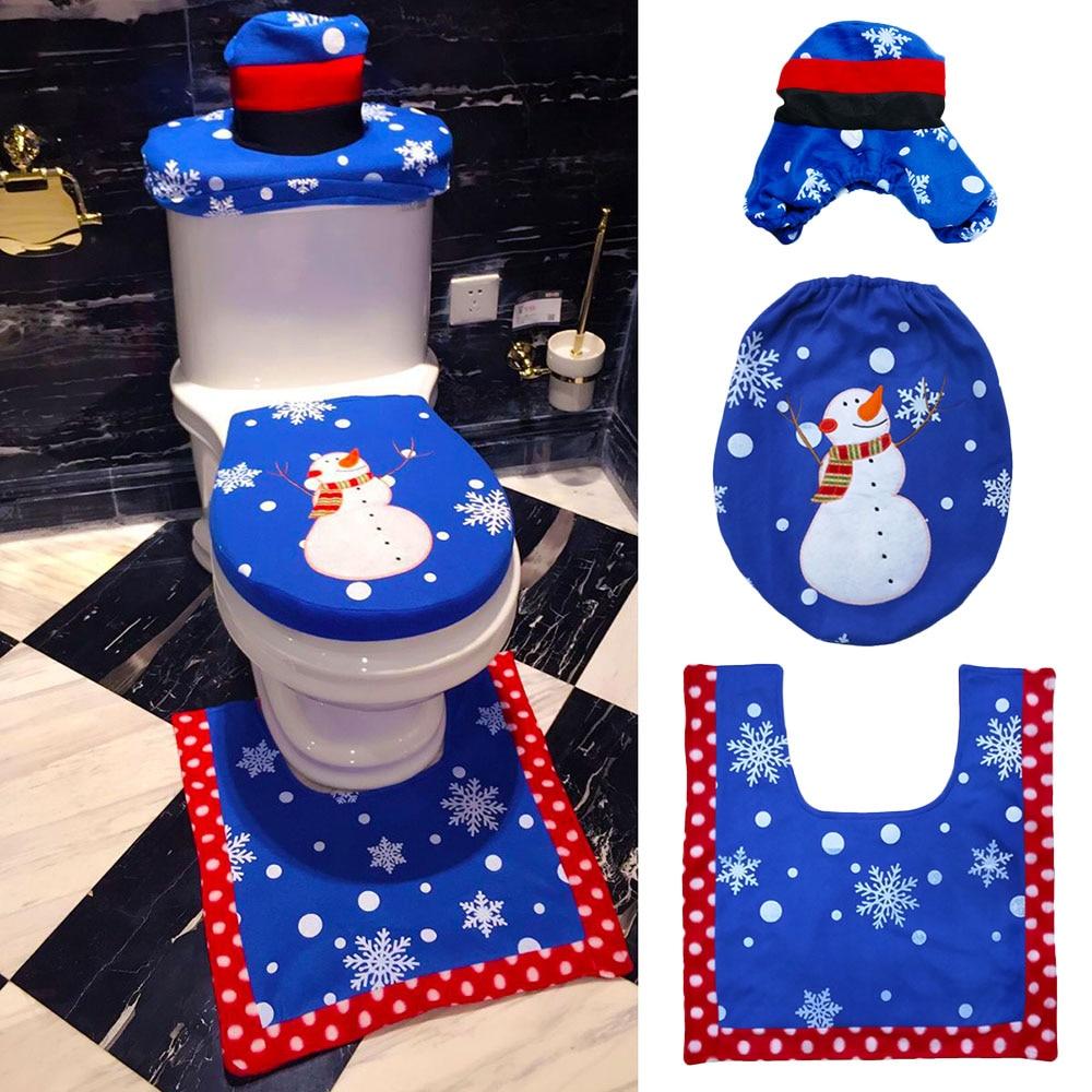 3Pcs/Set Xmas Blue Snowman Toilet Seat Cover & Rug Bathroom Mat Christmas Decor