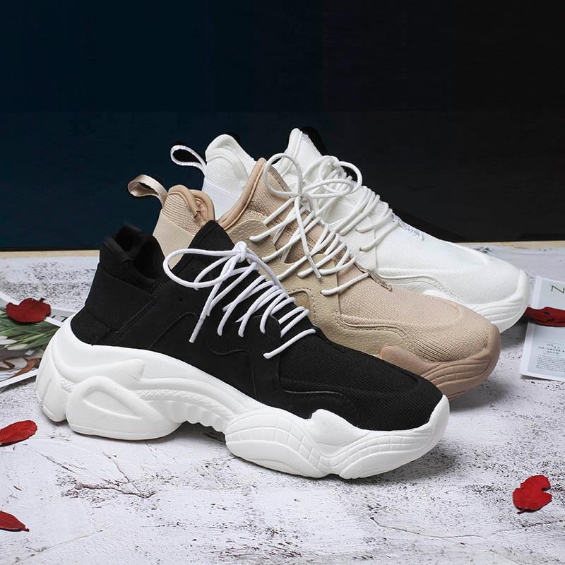 Новинка 2019 года; женские кроссовки на толстой подошве; женская повседневная обувь на платформе; парусиновые женские кроссовки; Ulzzang Dad; высокие кроссовки