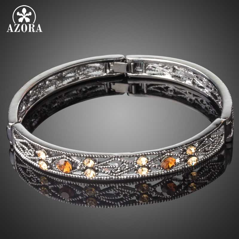 AZORA Black Gun Color Ancient Pattern Bracelet & Bangles Crystals from Austrian Retro Style Bangles Women Jewelry TB0093