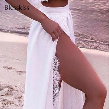 Two Piece Lace Off Shoulder Bikini Cover Up Beach Dress 2
