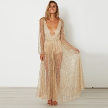 2017 Sexy Transparent Hot Drilling Party Dress Women Lace See through Golden Night Club Gauze Sequined Vestidos CYQ039