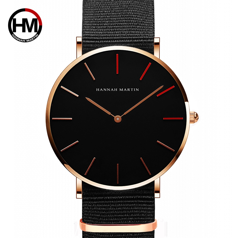 Hannah Martin Quartz Watches Men Movement Black Waterproof Wristwatches Fashion Luxury Thin Nylon Creative Ladies Hand Watch