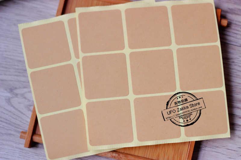 405 шт. Бесплатная доставка Бланк Крафт Браун стикер квадратной формы стикер/подарок наклейка крафт-бумага клейкая продвижение уплотнения стикер