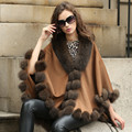 2015Newest style lady cashmere cape with fox fur trim autumn and winter medium-long moben mantissas thickening outerwear