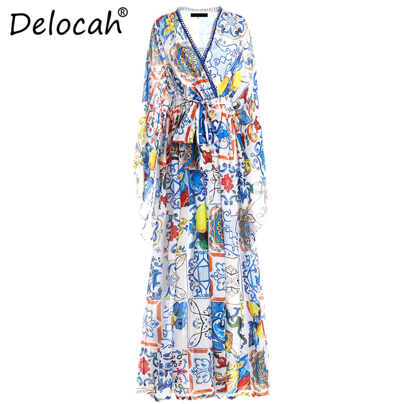 Delocah 5XL Plus size Women Maxi Dresses Runway Fashion Design Sexy V Neck Casual Flower Printed
