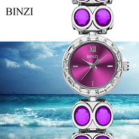 Reloj Mujer 2018 Luxury Women Bracelet Watch BINZI Brand Quartz Steel Ladies Wrist Watches Rhinestone Diamond Female Blue Watch