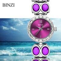 Reloj Mujer 2018 Luxury Women Bracelet Watch BINZI Brand Quartz Steel Ladies Wrist Watches Rhinestone Diamond Female Blue Watch