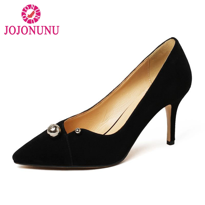 JOJONUN Sexy Women Real Leather High Heel Shoes Women Pointed Toe Shoes Bownot Thin Heel Pumps Party Club Women Shoes Size 34-39 dorisfanny sparkly glitter sequin high heel pumps shoes sexy party club prom 12cm size 33 45 womens high heel shoes