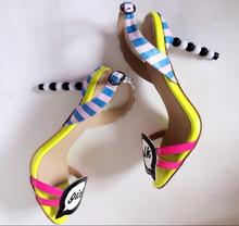 Cute Girls High Heels Sandals Women Shoes Yellow Sky Blue White Mixed Colors Gladiator Cut-out Pearl