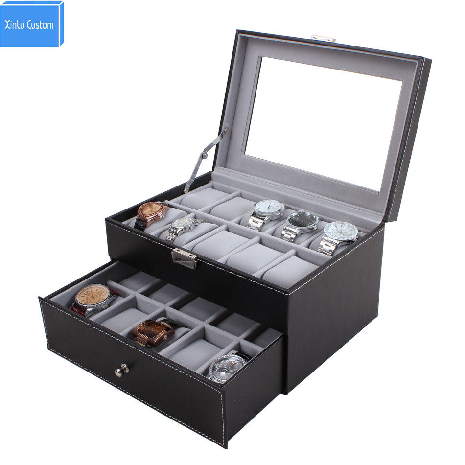 Luxury Senior 20 Slots Mens&Womens 2 Layer Watch Box Large Glass Top Display Jewelry Case Organizer China Supplier Drop Shipping watchcase storage luxury 22 slots 2 layer wood glossy lacquer watch box jewelry collection display drop shipping supply