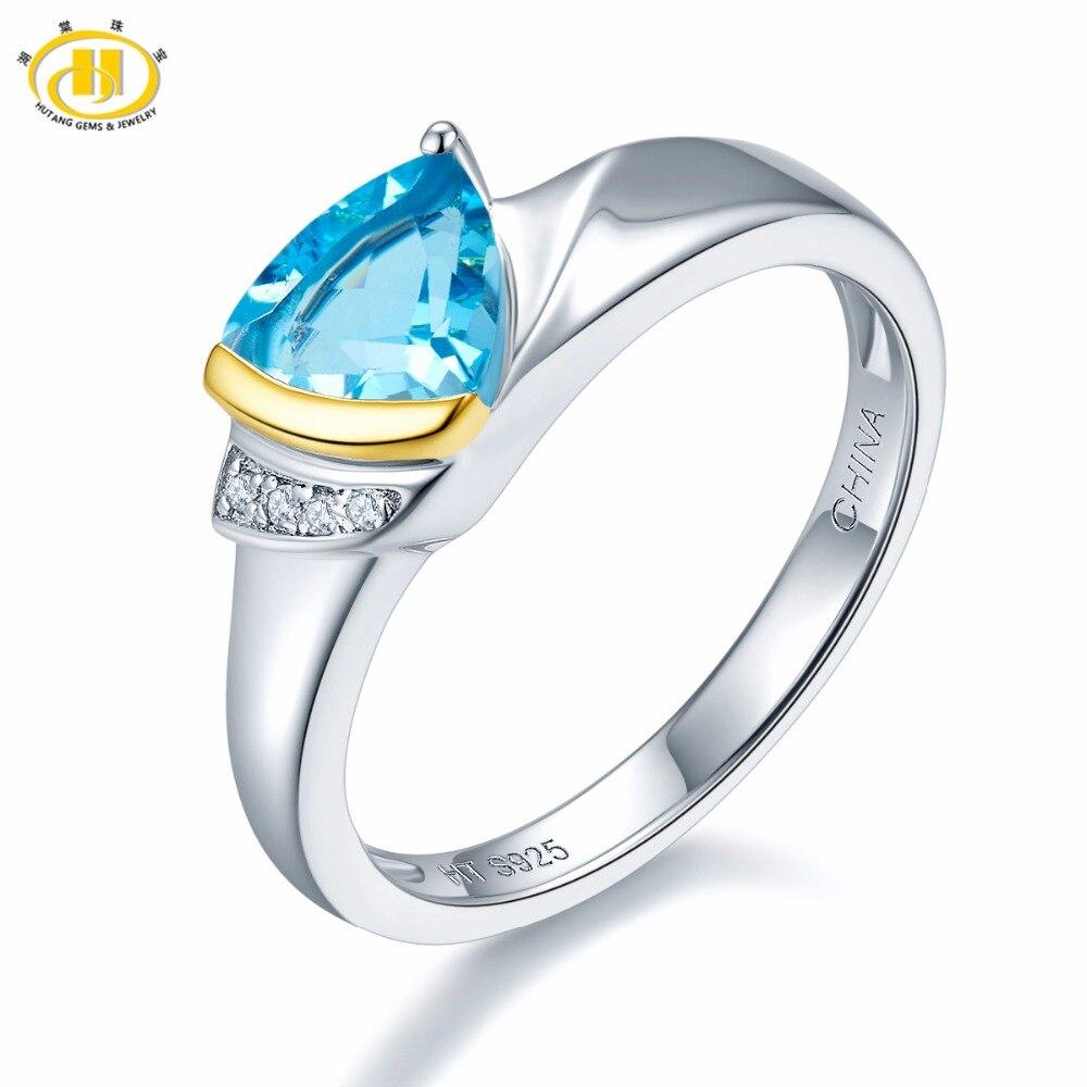 Hutang Pierre Bijoux Naturel Gemstone Blue Topaz Solide 925 En Argent Sterling Bague de Fiançailles Bijoux Pour Femmes Cadeau Deux Couleur