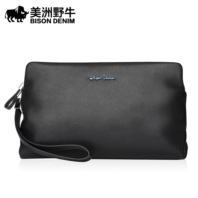 BISON DENIM Brand Handbag Men Genuine Leather Wallet Business Casual Large Capacity Clutch Bag Men's Cowhide Purse Free Shipping шапки меховая фантазия шапка