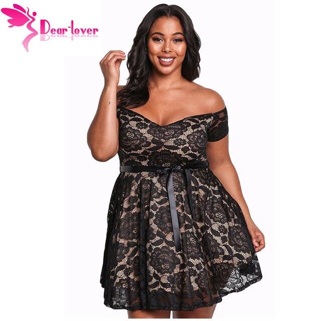 ece0a311bea Dear Lover Party Dress Sexy Women Clubwear Black Plus Size Floral Lace  Flared Off Shoulder Mini