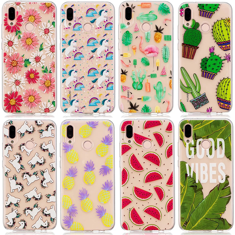 For Huawei P20 Pro Case Flower Plants Cactus Leaves Flamingo Pineapple Horse Silicone Cover For Huawei P20 Lite P20 Cases ...