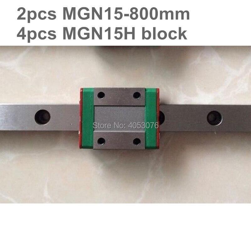 MGN15 miniature rail linéaire diapositive 2 pièces MGN15-800mm rail linéaire guide + 4 pièces MGN15H transport pour CNC pièces