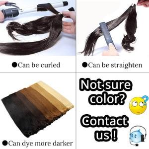"Image 3 - Human Hair Weaves Straight Machine Remy Hair Bundle Platinum Blonde Real Natural Hair Black Sew In Weft 100g 12"" 16"" 20"" 24"""