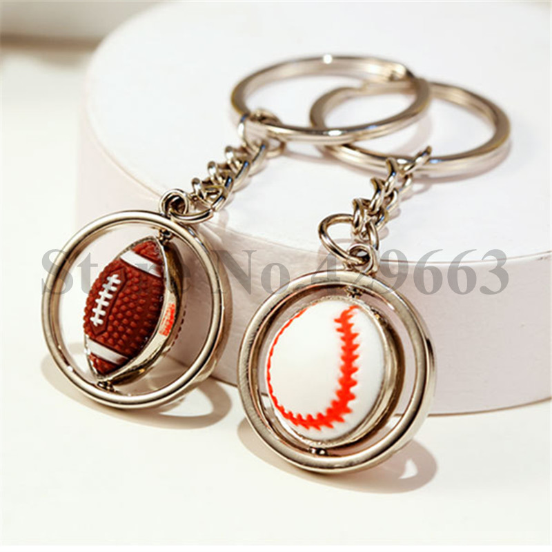 100 pieces lot Rugby keychain Baseball key Chain 360 Degree Rotatable Keyring Horsehide Key Ring