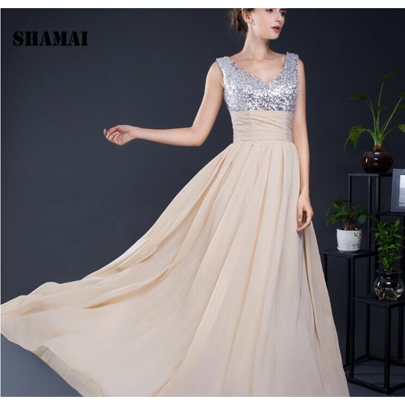 SHAMAI Cheap V-neck Slivery Sequined Top   Bridesmaid     Dress   Wedding Party   Dress   Champagne Chiffon   Bridesmaid   Gown Prom   Dresses