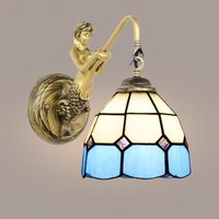 Mediterranean Tiffany Mermaid ofhead baroque Mirror Light for AC 110/220V E27 Wall Lamps for Home Corridor Balcony Aisle Mosaic