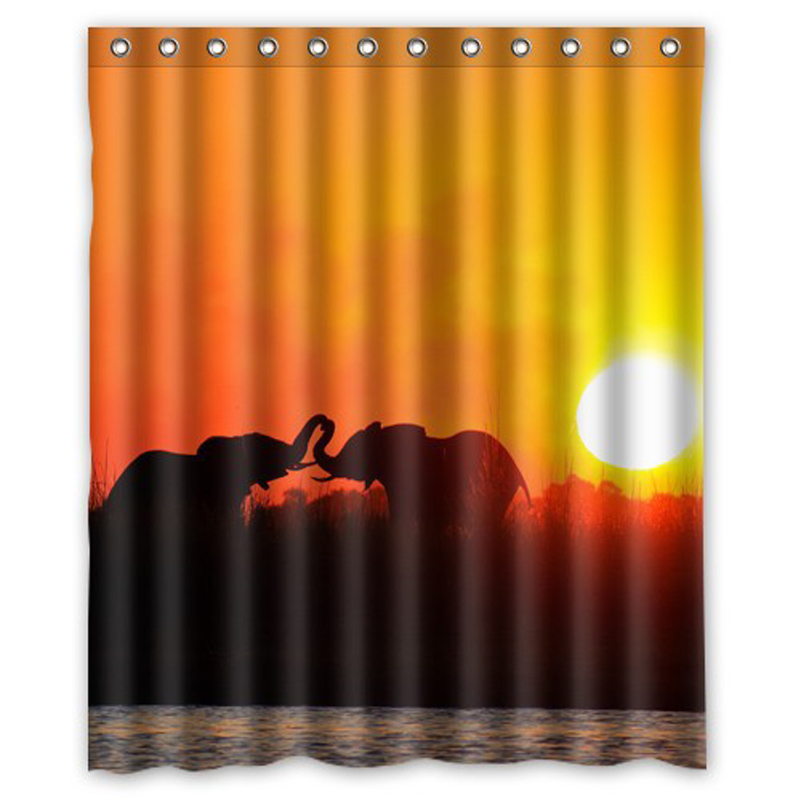 Bathroom Rugs 36 X 72: Sunset Kiss Lover Elephants Customized Unique Waterproof