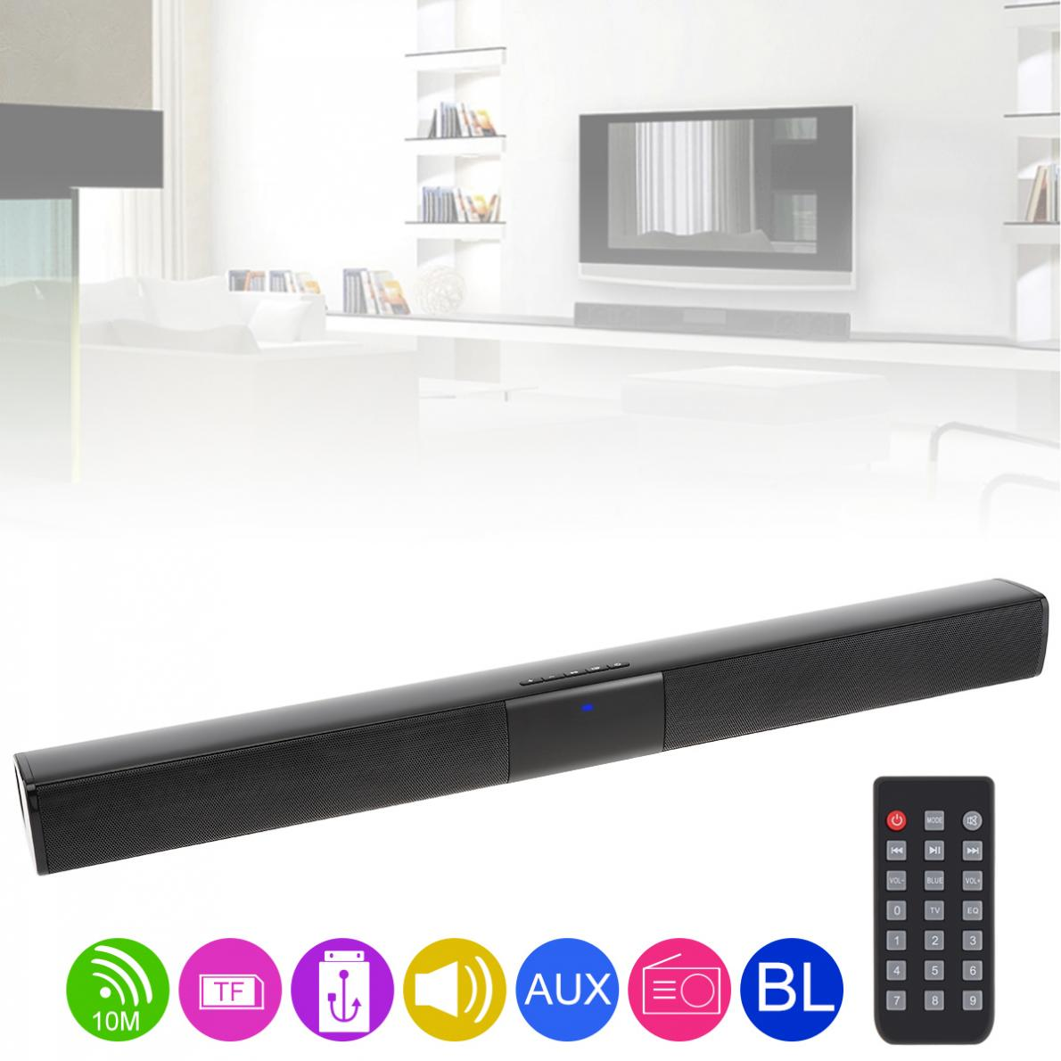 Home Theater Sensurround Multi function Bluetooth Soundbar Speaker with 4 Full Range Horns / 3.5mm AUX / RCA Interface for TV PC
