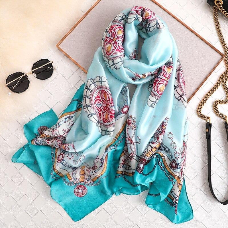 Luxury Brand Designer Silk Scarf Women Fashion Long Foulard Bandana High Quality Thin Shawls And Wraps Ladies Head Scarves Hijab