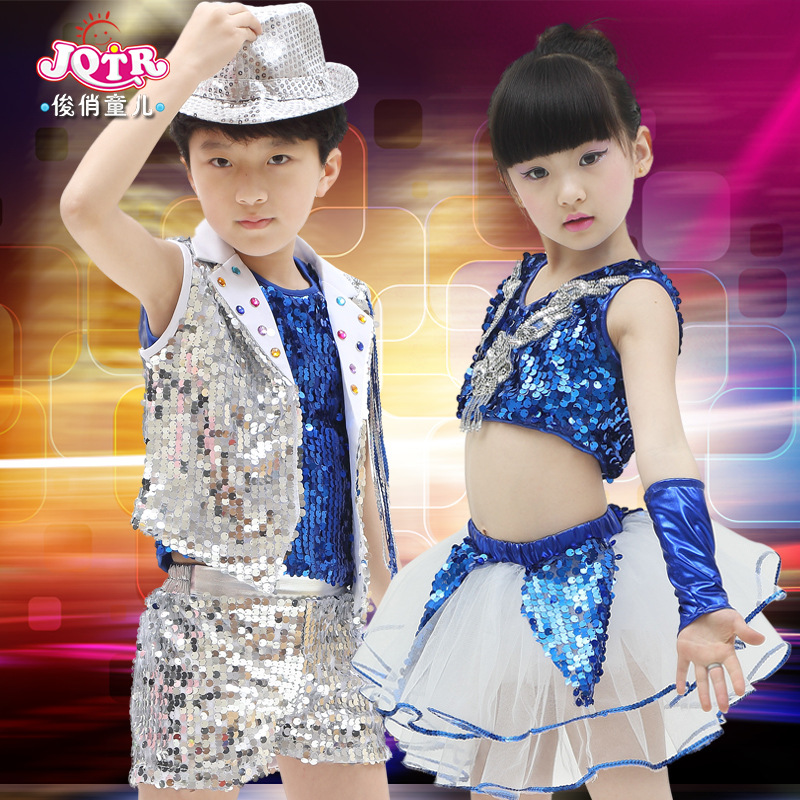 ᑐModa Niños Niñas hip hop Jazz Dance trajes lentejuelas estándar . cda691ffb17