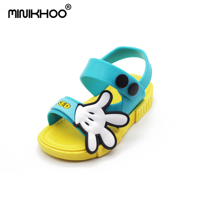 Mini Melissa Summer Mickey Palm Comfortable Brand Girl Sandals Fashion Girl Baby Jelly Sandals Breathable Boys Sandals 12cm-17cm