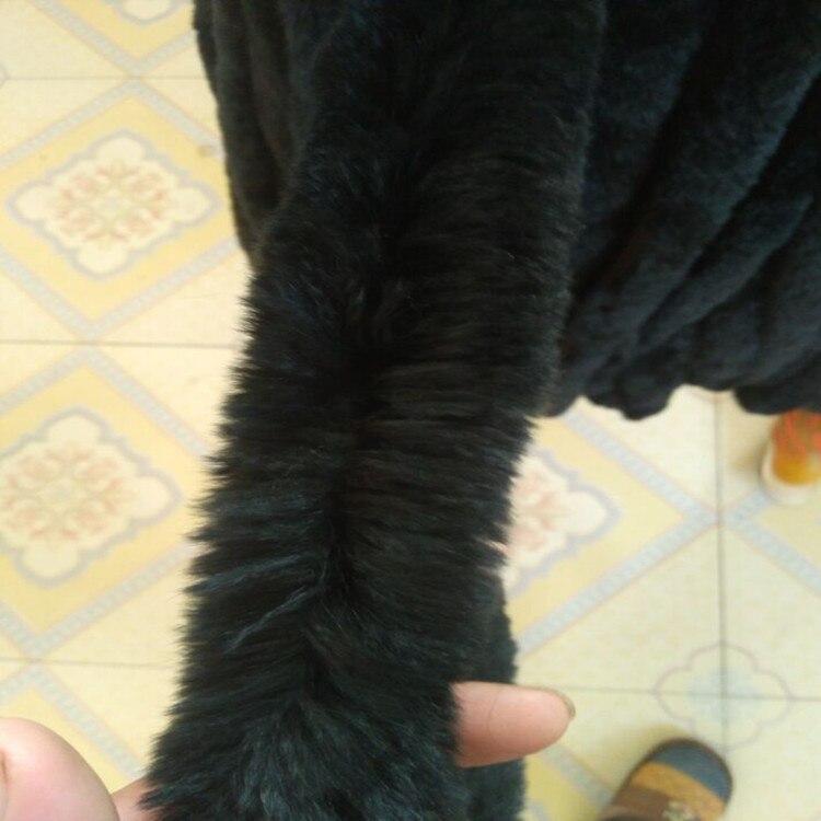 Bandes de fourrure de lapin de couleur noire/découpe de la fourrure de peau de lapin véritable pour accessoire de vêtement
