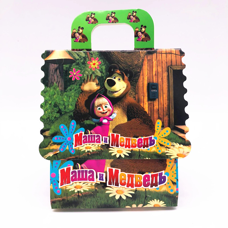 New 6pcs /lot Childrens Birthday Party masha and bear t Theme Gift Box Candy Bag Party Decoration