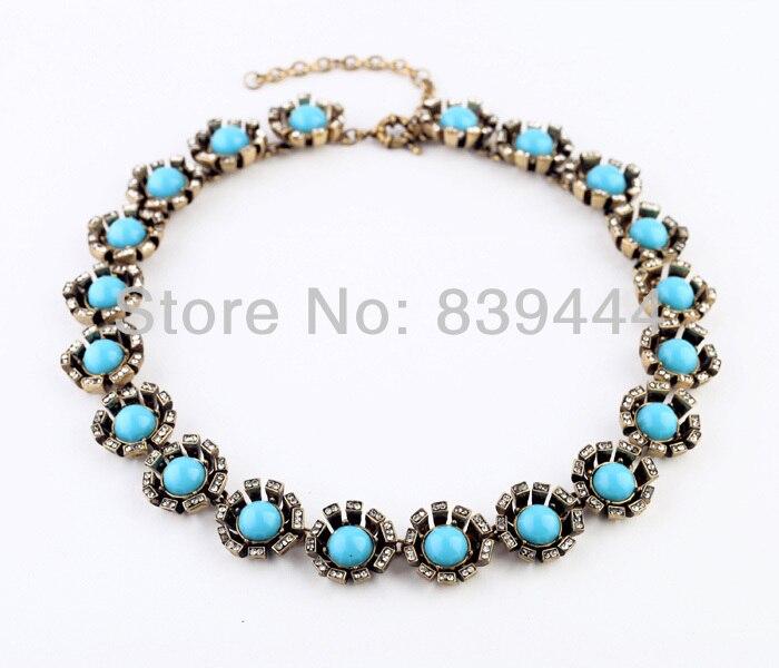 ᗑ Moda da cor do ouro jóias blue crystal choker colar - a610 ba7026b54c