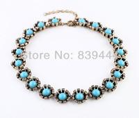 Mode couleur or bijoux bleu cristal choker collier