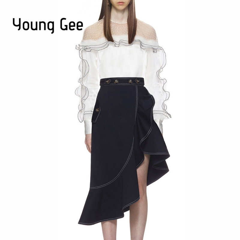 Young Gee High Quality 2018 Designer Runway Womens 2 Piece Set Chiffon Lace Dots Blouse Tops+Ruffles Irregular Skirt Tracksuit