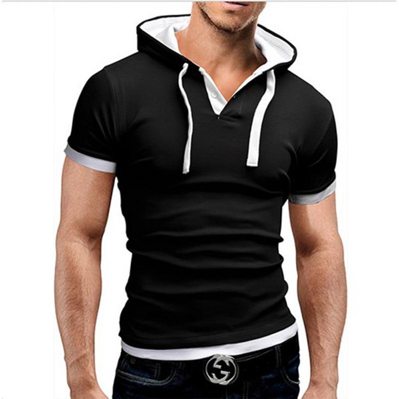 2017 estate moda felpa con cappuccio a maniche corte T-shirt uomo - Abbigliamento da uomo - Fotografia 2