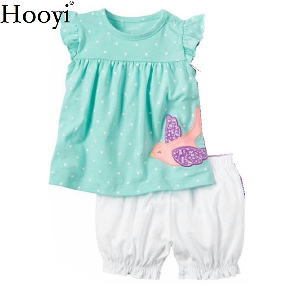 Fashion Baby Girls Clothes Suit Bird Cute Newborn Clothing Sets Toddler T-Shirt Hot Shorts Summer Outfit 6 9 12 18 24 Month Tops summer casual denim newborn toddler baby girl clothing kids off shoulder crop tops shorts outfit clothes set