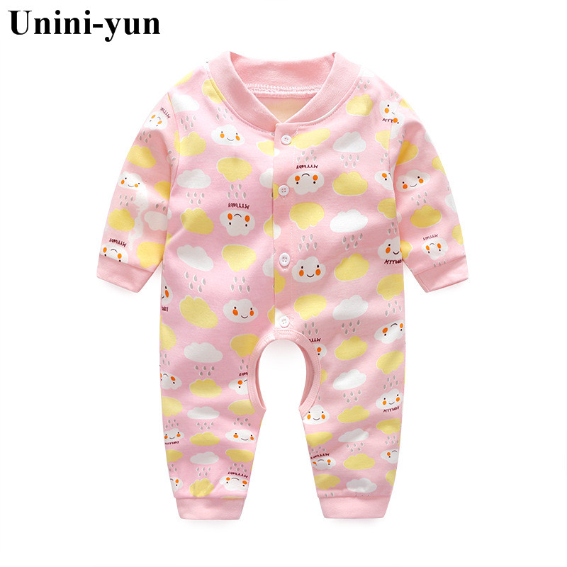 Spring Cartoon Cloud Pink O-NECK Baby Rompers Newborn Clothing Cotton Long Sleeve Jumpsuits Boys Girls Outerwear Costume 3M6M9M baby rompers o neck 100
