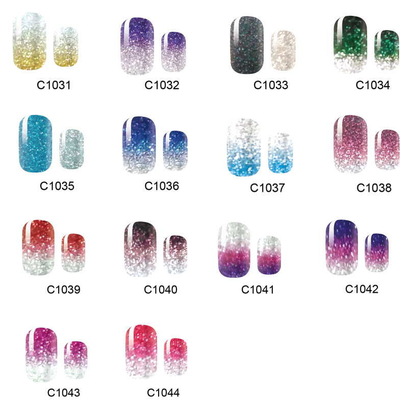 NEW 14 Tips NAIL Art Full Cover Self Adhesive Stickers Polish Foils Tips Wrap Glitter Gradient Shiny Nail Decal Manicure free shipping new 2017 hot 13 single pure color series classic collection manicure nail polish strips nail wraps full nail sheet