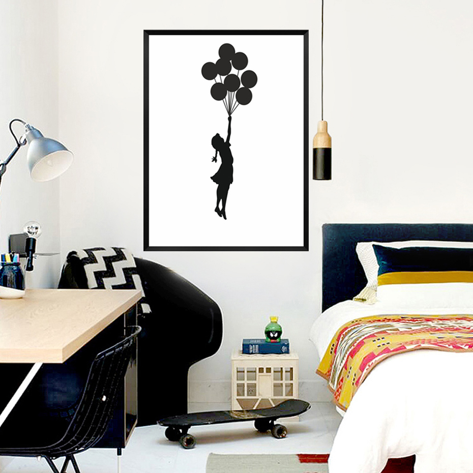online get cheap banksy girl aliexpress com alibaba group abstract banksy canvas painting inspiring girl with balloons wall art black white poster print graffiti pictures