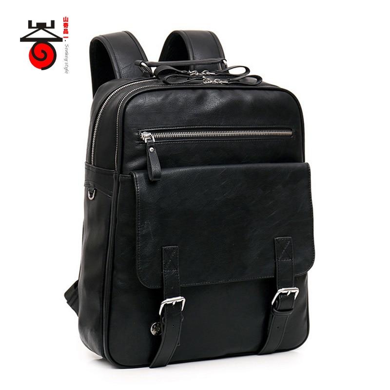 Senkey style Casual High Quality Men Business Backpacks 2017 Fashion High Grade PU Leather Designer Men